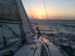 Sunrise over Redonda, beating to Montserrat