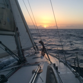 Sunrise over Redonda, beating to Montserrat