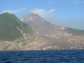 Volcanic flows have added to Montserrat's eastern shoreline. Will people build here, someday?