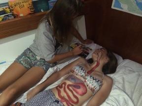 Niamh and Megan study anatomy