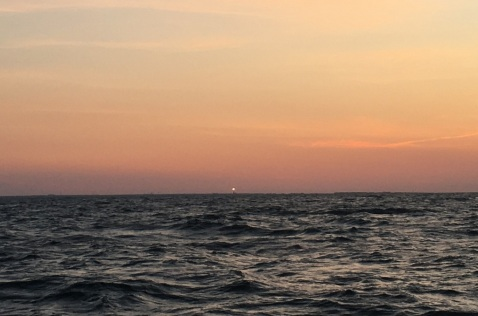 Dawn South of Cape Fear, Lighthouse on Horizon